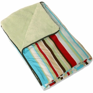Caden Lane Piped Blanket in Red Stripe