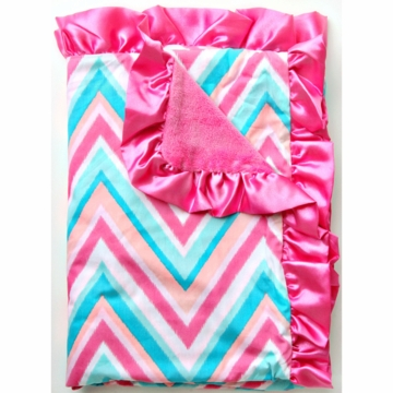 Caden Lane Ruffle Blanket in Pink Chevron