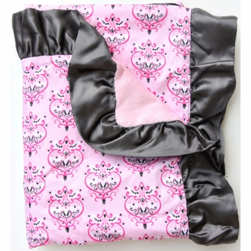 Caden Lane Ruffle Blanket in Pink Damask