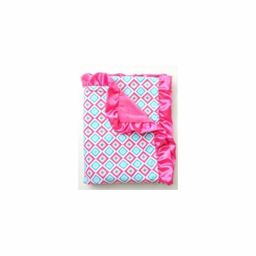 Caden Lane Ruffle Blanket in Pink Diamond