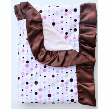 Caden Lane Ruffle Blanket in Pink Dot Line