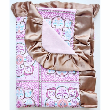 Caden Lane Ruffle Blanket in Pink Large Morrocan