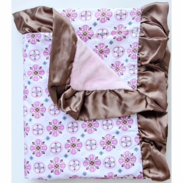 Caden Lane Ruffle Blanket in Pink Small Morrocan