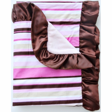 Caden Lane Ruffle Blanket in Pink Stripe