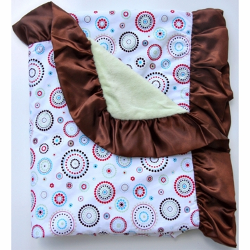 Caden Lane Ruffle Blanket in Red Circle Dot