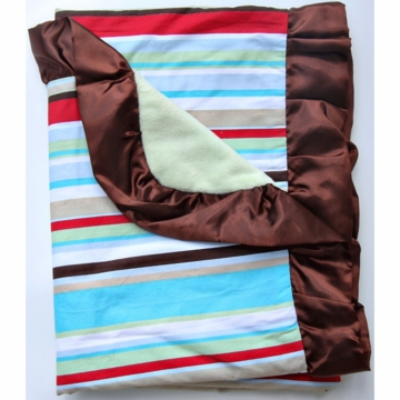 Caden Lane Ruffle Blanket in Red Stripe