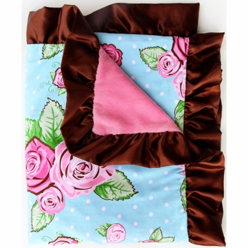 Caden Lane Ruffle Blanket in Rose Dot