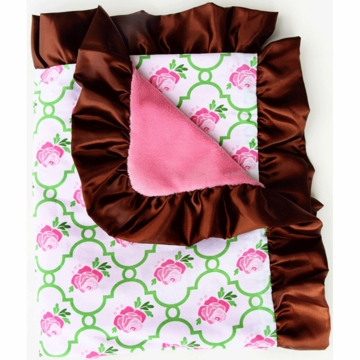Caden Lane Ruffle Blanket in Rose Lattice
