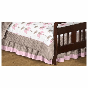 Sweet JoJo Designs Elephant Pink Toddler Bed Skirt