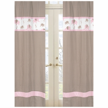 Sweet JoJo Designs Elephant Pink Window Panels