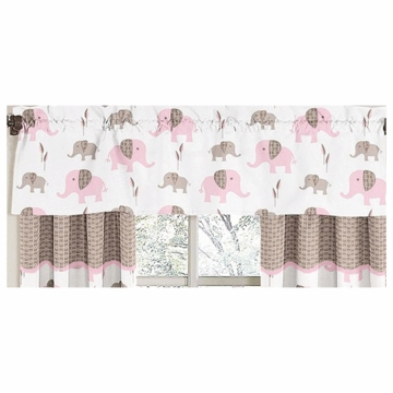 Sweet JoJo Designs Elephant Pink Window Valance