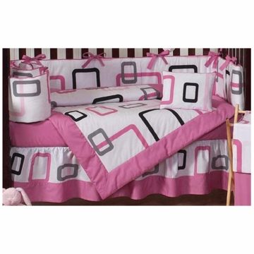 Sweet JoJo Designs Geo Pink 9 Piece Crib Bedding Set