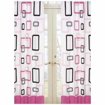 Sweet JoJo Designs Geo Pink Window Panels