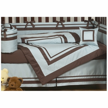 Sweet JoJo Designs Hotel Blue & Brown 9 Piece Crib Bedding Set