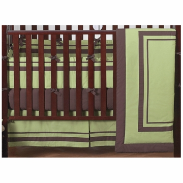 Sweet JoJo Designs Hotel Green & Brown 9 Piece Crib Bedding Set