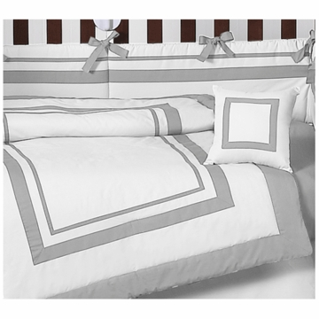 Sweet JoJo Designs Hotel White & Gray 9 Piece Crib Bedding Set