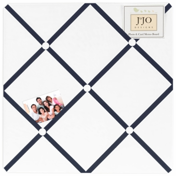 Sweet JoJo Designs Hotel White & Navy Fabric Memo Board