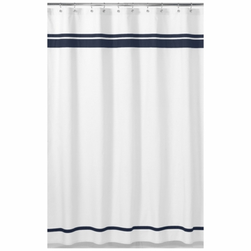 Sweet JoJo Designs Hotel White & Navy Shower Curtain