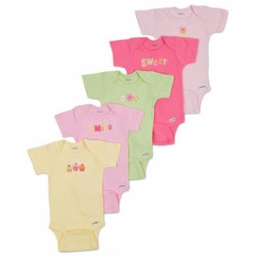 Gerber Girl 5 Pack Short Sleeve Onesies - 3 to 6 Months