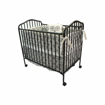 LA Baby Metal Folding Portable Porta Crib - Chocolate