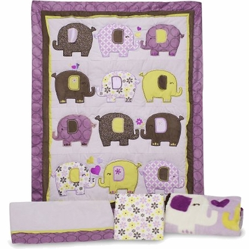 Carter�s Elephant Patches 4 Piece Crib Bedding Set