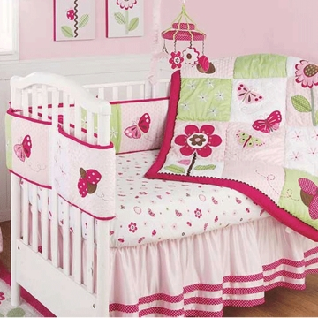 KidsLine Berry Garden 6 Piece Baby Crib Bedding Set