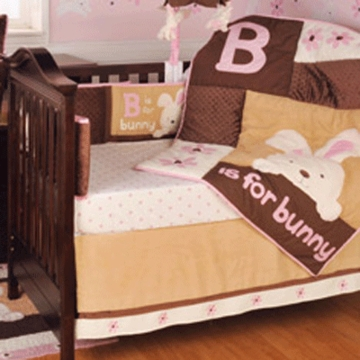 KidsLine B Is For Bunny 4 Piece Crib Bedding Set