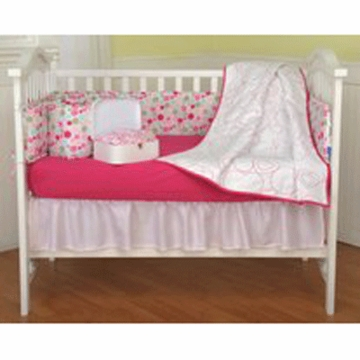 KidsLine Pink & White 5 Piece Crib Bedding Set