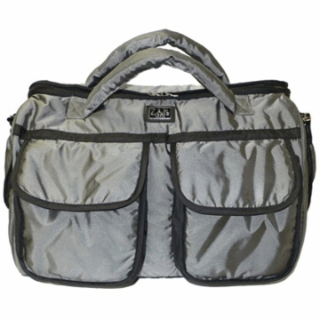 7 A.M. Enfant Voyage Diaper Bag Small in Metallic Gray Silver