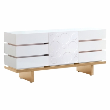 Nurseryworks 3-Wide Dresser - Circle Pattern Door - Light