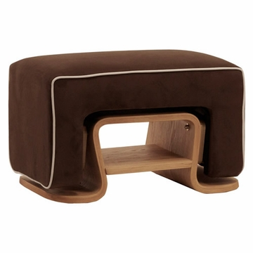 Nurseryworks Cole Ottoman - Mocha with Ecru Piping (Light Legs)