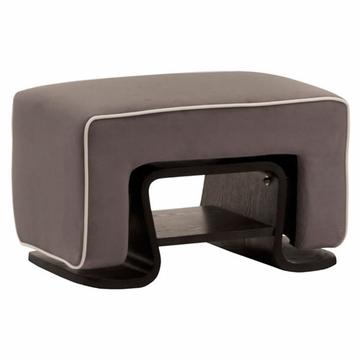 Nurseryworks Cole Ottoman - Slate with Ecru Piping (Dark Legs)