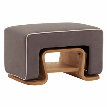 Nurseryworks Cole Ottoman - Slate with Ecru Piping (Light Legs)
