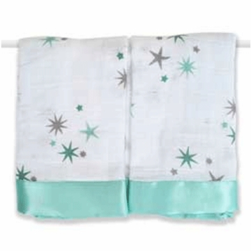 Aden + Anais Issie Security Blankets - 2 Pack - Ya Ya Green Stars