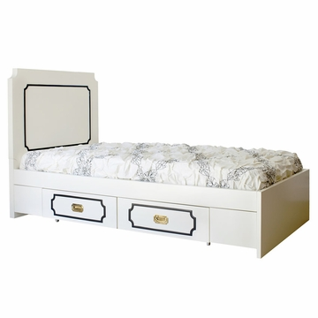 Nurseryworks Uptown Twin Bed - Cream with Black Molding