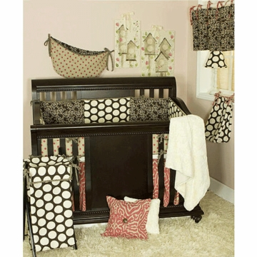 Cotton Tale N. Selby Raspberry Dot 4 Piece Crib Bedding Set