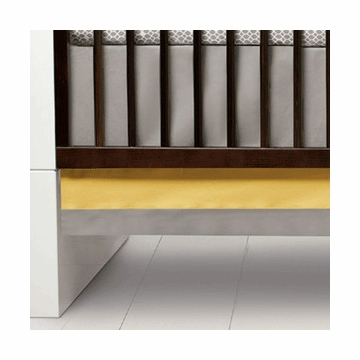 Oilo Solid Band Crib Skirt in Stone & Citron