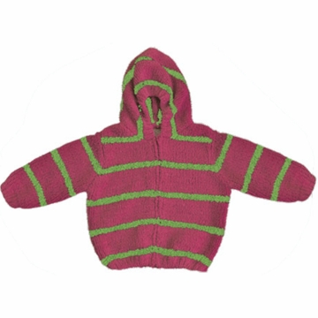 Angel Dear Classic Hooded Jacket in Fuchsia/Apple Green - 6 Months