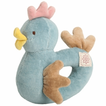MiYim Simply Organic Cotton Chicken Rattle in Blue
