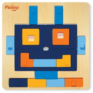P'kolino Multi-Solution Shape Puzzle - Robot Multi-Solution Shape Puzzle -Rhombot - Toy Puzzle Squares
