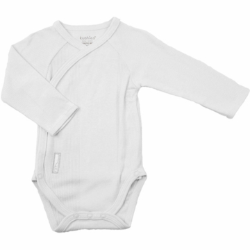 Kushies Baby Wrap Long Sleeve Bodysuit in White-3 Month