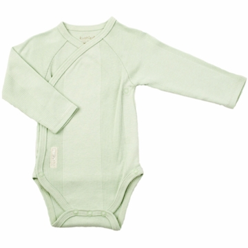 Kushies Baby Wrap Long Sleeve Bodysuit in Green-6 Month