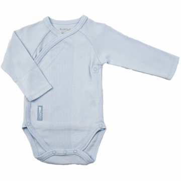 Kushies Baby Wrap Long Sleeve Bodysuit in Blue-6 Month