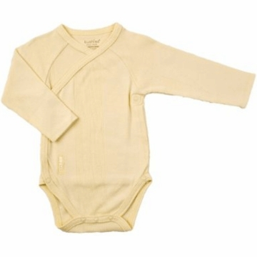 Kushies Baby Wrap Long Sleeve Bodysuit in Yellow-1 Month