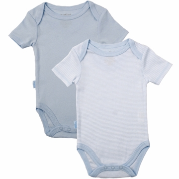 Kushies Baby Short Sleeve Solid/Stripe Bodysuit in Blue- 12 Months