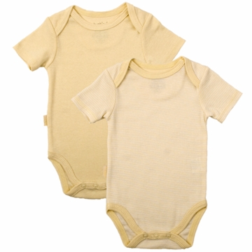 Kushies Baby Short Sleeve Solid/Stripe Bodysuit in Yellow- 6 Months