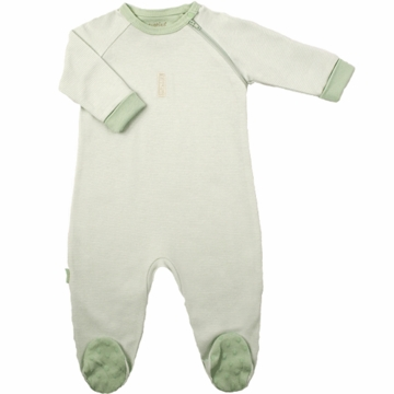 Kushies Baby Sleeper in Green Stripe- 3 Months