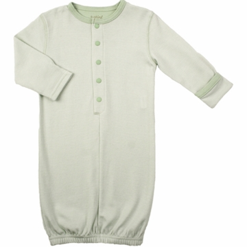 Kushies Baby Gown in Green Stripe- 6 Months