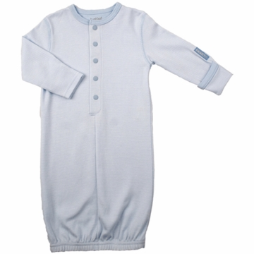 Kushies Baby Gown in Blue Stripe- 6 Months
