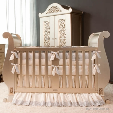 Bratt D�cor Chelsea Collection Sleigh Crib - Antique Silver